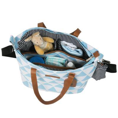 Imagem 4 do produto Mala maternidade com Rodízio + Bolsa 4 em 1 Sofia + Frasqueira térmica Vicky Manhattan Azul - Masterbag
