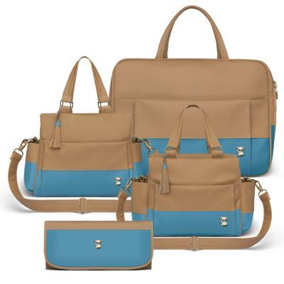Imagem 1 do produto Mala Maternidade para bebe + Bolsa Genebra + Frasqueira Térmica Zurique + Trocador Portátil Due Colore Turquesa - Classic for Baby Bags