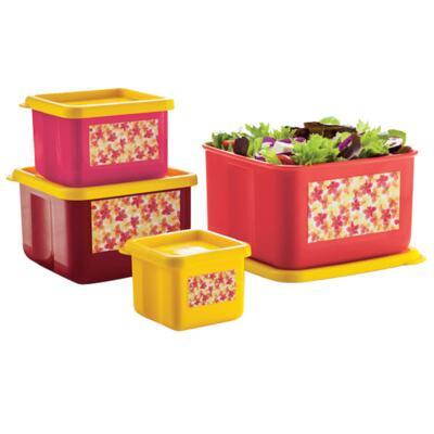 Imagem 1 do produto Kit com 4 Potes Quadrados Innovaware Jasmim