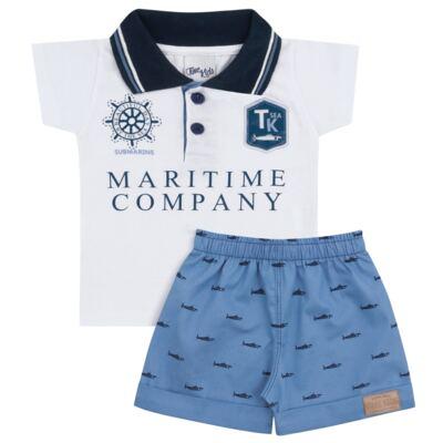 Imagem 1 do produto Camiseta Polo com Bermuda para bebe Maritime Company branca - Time Kids - TK5110.BC CONJUNTO CAMISETA C/SHORTS BRANCO/AZUL-P