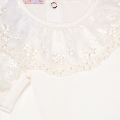 Imagem 3 do produto Body longo para bebe em malha Renda Marfim - Roana - 01640002031 BODY LONGO AVULSO ESPECIAL MARFIM-M