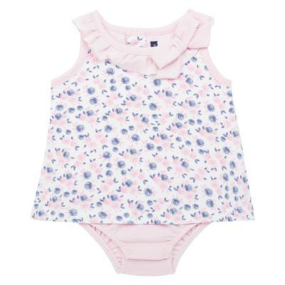 Imagem 1 do produto Body Vestido para bebe em cotton Flourish - Mini Sailor - 01244440 BODY VESTIDO C/LACO COTTON FLORAL ROSA-NB