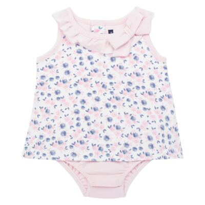 Body Vestido para bebe em cotton Flourish - Mini Sailor - 01244440 BODY VESTIDO C/LACO COTTON FLORAL ROSA-9-12