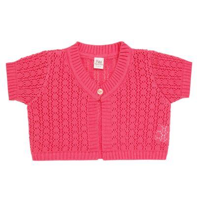 Imagem 1 do produto Bolero curto para bebe em tricot Pink - Petit - 75614423 Bolero m/c Tricot/Can Rosa Candy-2