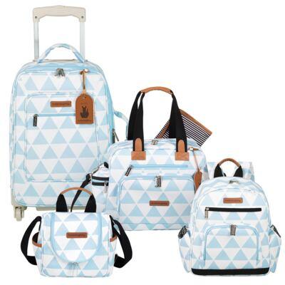 Imagem 1 do produto Mala Maternidade com Rodízio + Bolsa Everyday + Frasqueira térmica Emy + Mochila Noah Manhattan Azul - Masterbag