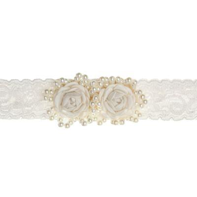 Imagem 1 do produto Faixa renda Flores & Pérolas Marfim - Roana