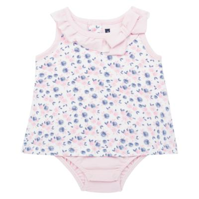 Imagem 1 do produto Body Vestido para bebe em cotton Flourish - Mini Sailor - 01244440 BODY VESTIDO C/LACO COTTON FLORAL ROSA-6-9