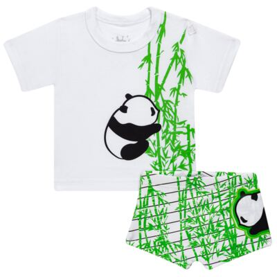 Imagem 1 do produto Conjunto de Banho para bebe  Pandite: Camiseta + Sunga - Cara de Criança - KIT 1 2530: SBB2530+CCAB2530 SUNGA E CAMISETA BB PANDA-G
