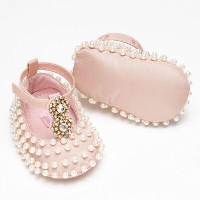 Imagem 3 do produto Sapatilha para bebe em cetim Pérolas & Strass Rosê - Roana - SPE00036003 Sapatilha Especial Mini Pérolas Rose-M