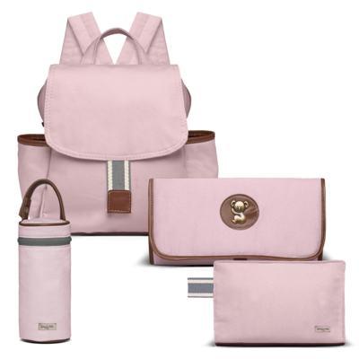 Imagem 1 do produto Mochila maternidade + Trocador Portátil + Porta Mamadeira + Necessaire Adventure em sarja Rosa - Classic for Baby Bags