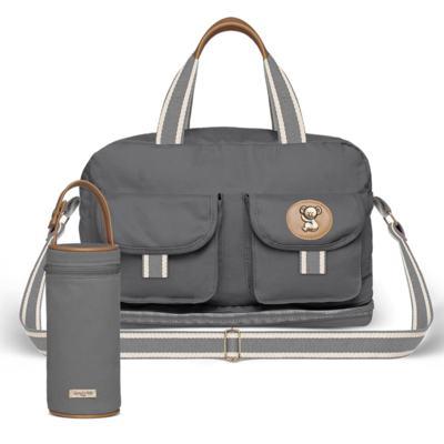 Imagem 1 do produto Bolsa Maternidade para Ibiza + Porta Mamadeira  em sarja Adventure Chumbo - Classic for Baby Bags