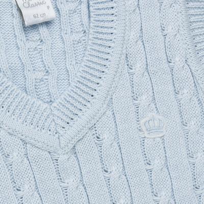 Imagem 2 do produto Colete trançado para bebe em tricot Azul - Mini & Classic - 4507656 COLETE TRANCADO TRICO URSO-P