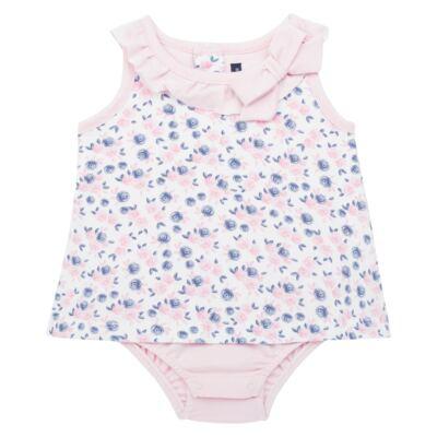 Imagem 1 do produto Body Vestido para bebe em cotton Flourish - Mini Sailor - 01244440 BODY VESTIDO C/LACO COTTON FLORAL ROSA-0-3