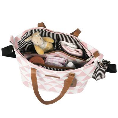 Imagem 4 do produto Mala maternidade Vintage + Bolsa 4 em 1 Sofia + Frasqueira térmica Vicky Manhattan Rosa - Masterbag