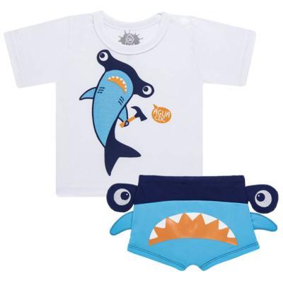 Imagem 1 do produto Conjunto de Banho Tubarão Martelo: Camiseta + Sunga - Cara de Criança - KIT 1 2910: SB2910 + CCA2910 SUNGA BOXER E CAMISETA TUBARAO MARTELO-4