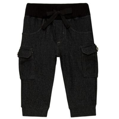 Imagem 1 do produto Calça Cargo jeans para bebe em fleece Black - Petit - 41154308 CALÇA C/ BOLSA LATERAIS FLEECE SAFARI -3