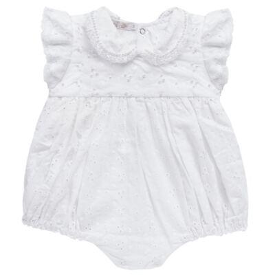 Imagem 1 do produto Macacão curto para bebe em laise Pérolas Deluxe - Roana - PIML0927001 PIMPAO LUXO BRANCO -RN