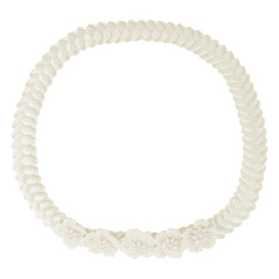 Imagem 1 do produto Faixa de cabelo trançada Flores & Pérolas Marfim - Roana - 23840021031 Faixa trançada detalhe tricot Marfim