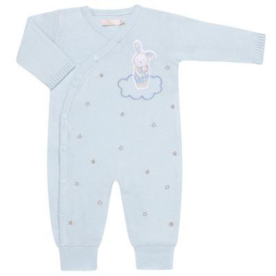 """Imagem 1 do produto Macacão longo com abertura """"S"""" para bebe em tricot Lapin - Petit - 22344420 Macacão ML Masc Tricot Azul -RN"""