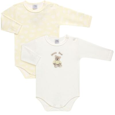 Imagem 1 do produto Pack 2 Bodies longos para bebe em suedine Ursinho - Petit - 10424346 PACK 2 BODIES M/L SUEDINE URSO NEUTRO-GG