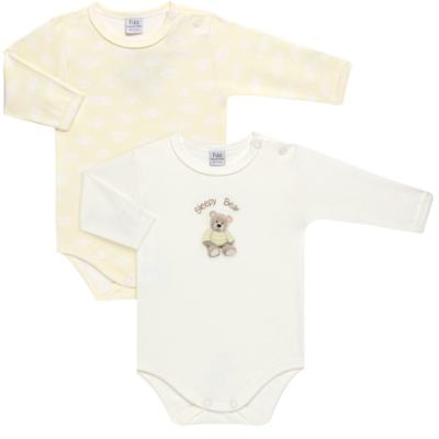 Imagem 1 do produto Pack 2 Bodies longos para bebe em suedine Ursinho - Petit - 10424346 PACK 2 BODIES M/L SUEDINE URSO NEUTRO-G