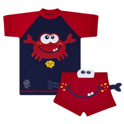 Imagem 1 do produto Conjunto de Banho Caranguejo: Camiseta surfista + Sunga - Cara de Criança - KIT 2 2903: SB2903 + CSA2903 SUNGA E CAMISETA CARANGUEIJO-3