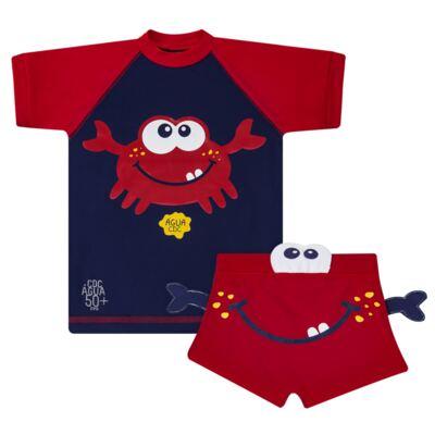 Imagem 1 do produto Conjunto de Banho Caranguejo: Camiseta surfista + Sunga - Cara de Criança - KIT 2 2903: SB2903 + CSA2903 SUNGA E CAMISETA CARANGUEIJO-2