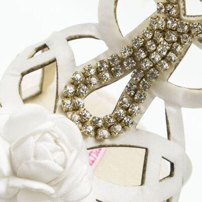 Imagem 4 do produto Sandália Gladiadora para bebe Flor & Strass - Roana - GLA00003031 SAPATILHA GLADIADORA MARFIM-RN
