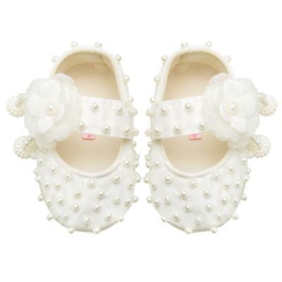 Imagem 1 do produto Sapatilha para bebe em cetim Pérolas & Flor Marfim - Roana - 20040026031 SAPATILHA LUXO MARFIM-RN
