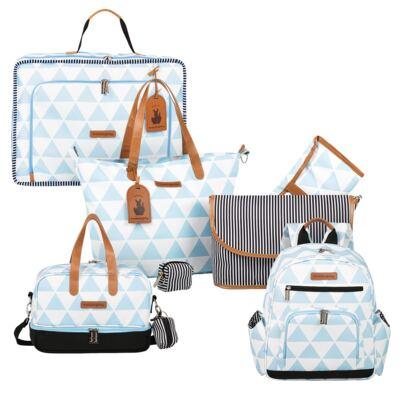 Imagem 1 do produto Mala maternidade Vintage + Bolsa 4 em 1 Sofia + Frasqueira térmica Vicky + Mochila Noah Manhattan Azul - Masterbag
