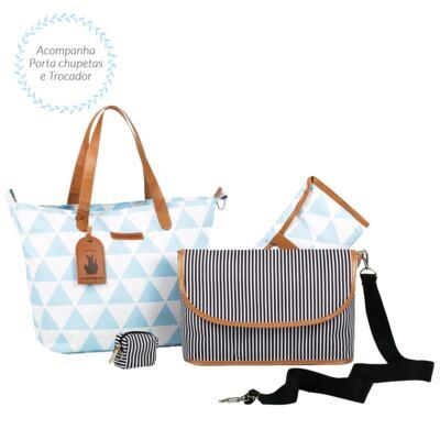 Imagem 4 do produto Mala maternidade Vintage + Bolsa 4 em 1 Sofia + Frasqueira térmica Vicky + Mochila Noah Manhattan Azul - Masterbag