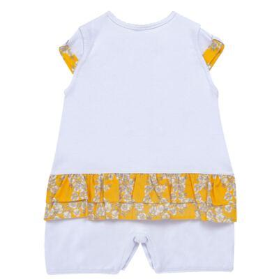 Imagem 3 do produto Macacão curto para bebe em algodão egípcio c/ jato de cerâmica Daisy - Mini & Classic - 3019657 MACACAO M/C C/BABADOS SUEDINE FLORAL AMARELO-G
