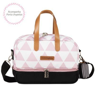 Imagem 7 do produto Mala maternidade Vintage + Bolsa 4 em 1 Sofia + Frasqueira térmica Vicky + Mochila Noah Manhattan Rosa - Masterbag