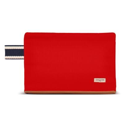 Imagem 4 do produto Mochila maternidade + Trocador Portátil + Porta Mamadeira + Necessaire Adventure em sarja Vermelha - Classic for Baby Bags