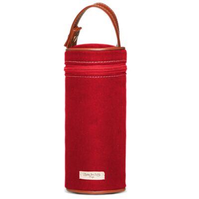 Imagem 5 do produto Bolsa Maternidade p/ bebe + Térmica Brisbane + Necessaire Farmacinha + Trocador + Porta Mamadeira sarja Adventure Vermelha - Classic for Baby Bags