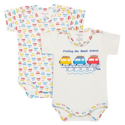 Imagem 1 do produto Kits 2 Bodies curtos para bebe em malha Carrinhos - Tilly Baby - TB16813 BODY MC MASC 2 PÇS CARRINHOS-GG