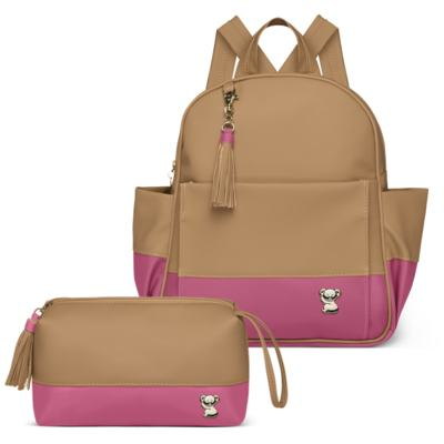 Mochila maternidade Davos + Necessaire Due Colore Pink -  Classic for Baby Bags