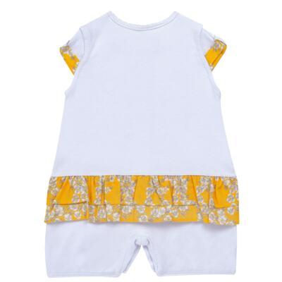 Imagem 3 do produto Macacão curto para bebe em algodão egípcio c/ jato de cerâmica Daisy - Mini & Classic - 3019657 MACACAO M/C C/BABADOS SUEDINE FLORAL AMARELO-P