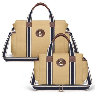 Imagem 1 do produto Bolsa Maternidade para bebe Albany + Frasqueira Térmica Gold Coast Adventure em sarja Caramelo/Café - Classic for Baby Bags