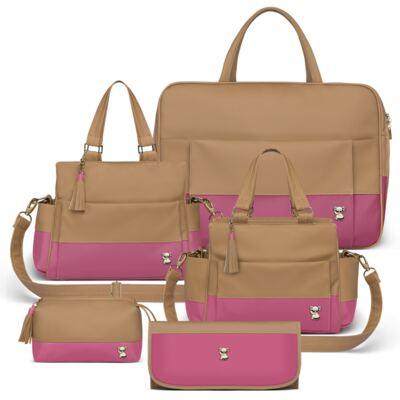 Imagem 1 do produto Mala Maternidade para bebe + Bolsa Genebra + Frasqueira Térmica Zurique  + Necessaire + Trocador Portátil Due Colore Pink - Classic for Baby Bags