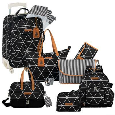 Imagem 1 do produto Mala maternidade com Rodízio + Bolsa Sofia 4 em 1 + Frasqueira térmica Vicky + Mochila Noah + Necessaire para bebe Manhattan Preta - Masterbag