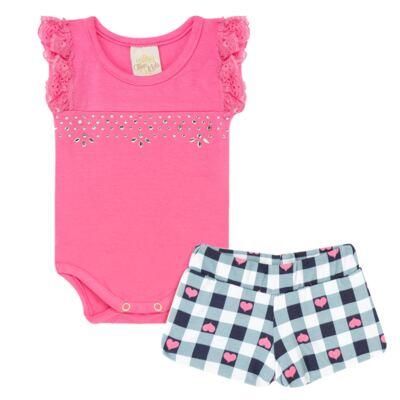 Imagem 1 do produto Body regata com shorts balonê para bebe Bubblegum - Time Kids - TK5054.PK CONJUNTO BODY E SHORTS XADREZ PINK-M