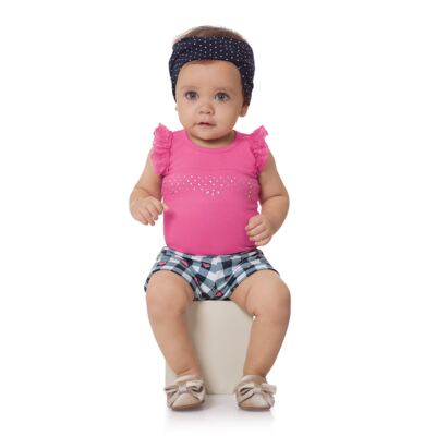 Imagem 4 do produto Body regata com shorts balonê para bebe Bubblegum - Time Kids - TK5054.PK CONJUNTO BODY E SHORTS XADREZ PINK-M