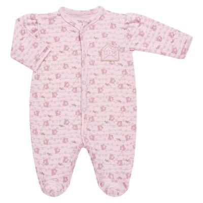 Imagem 1 do produto Macacão longo para bebe em algodão egípcio Coelhinha - Tilly Baby - TB168100 MACACAO ML FEMININO SUEDINE CORRIDO CARTINHAS-RN