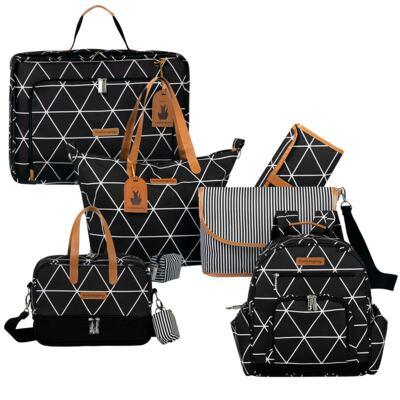 Imagem 1 do produto Mala maternidade Vintage + Bolsa 4 em 1 Sofia + Frasqueira térmica Vicky + Mochila Noah Manhattan Preta - Masterbag