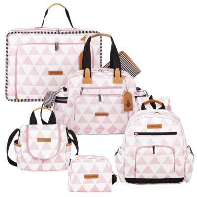 Imagem 1 do produto Mala maternidade Vintage + Bolsa Everyday + Frasqueira térmica Emy + Mochila Noah + Necessaire Manhattan Rosa - Masterbag