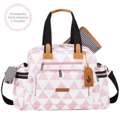 Imagem 3 do produto Mala maternidade Vintage + Bolsa Everyday + Frasqueira térmica Emy + Mochila Noah + Necessaire Manhattan Rosa - Masterbag