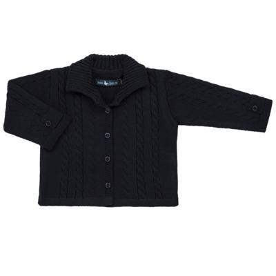 Imagem 1 do produto Casaquinho para bebe em tricot trançado Marinho - Mini Sailor - 75464262 CASAQUINHO C/GOLA TRANÇADO TRICOT MARINHO-3-6