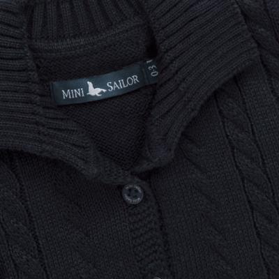 Imagem 2 do produto Casaquinho para bebe em tricot trançado Marinho - Mini Sailor - 75464262 CASAQUINHO C/GOLA TRANÇADO TRICOT MARINHO-3-6