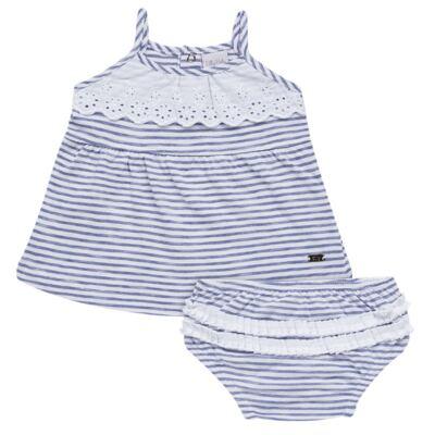 Imagem 1 do produto Vestido com Calcinha para bebe em malha Navy - Tilly Baby - TB168201 CONJ FEMININO VESTIDO C/ CALCINHA LISTRADO-GG